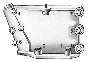 Порядок затяжки болтов крепления верхней крышки распределительных звездочек двигателя УЗАМ-3317