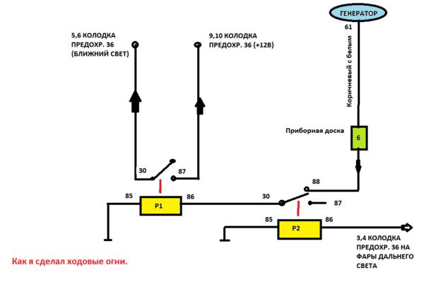 Схема подключения противотуманок как ходовые огни